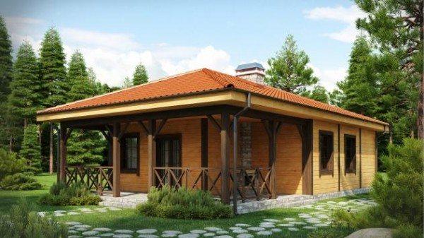 3D проект маленького дома из бруса