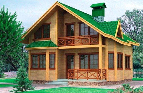 Брусовый дом с двумя этажами