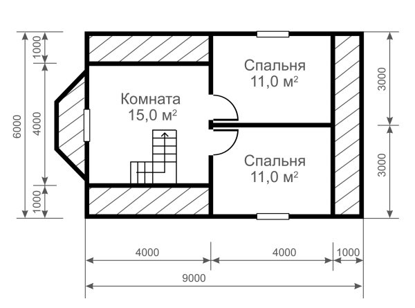 Деревянный дом 6х9 м