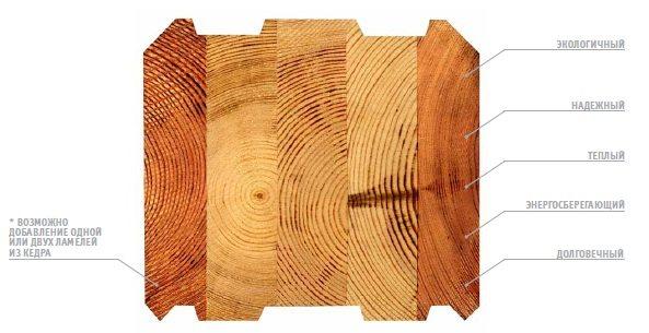 Дополнительные возможности клееных материалов предполагают использование дополнительных вставок из других пород древесины