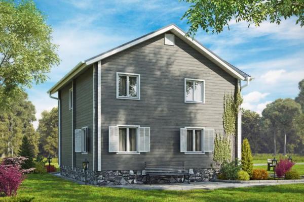 Двухэтажный дом из клеёного бруса