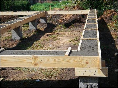 Фундамент на столбах с бетонным ростверком.