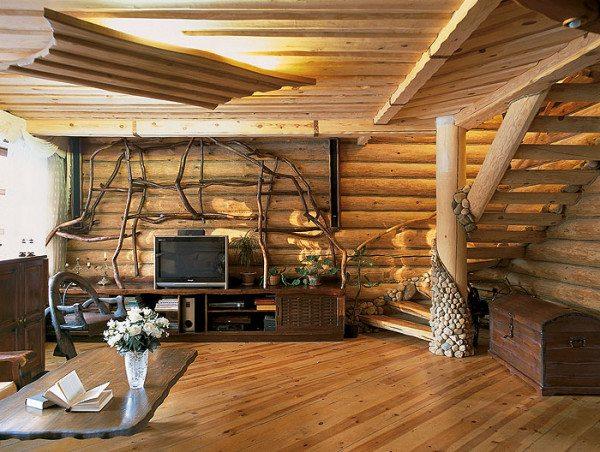 Интерьер дома из оцилиндрованного бревна.