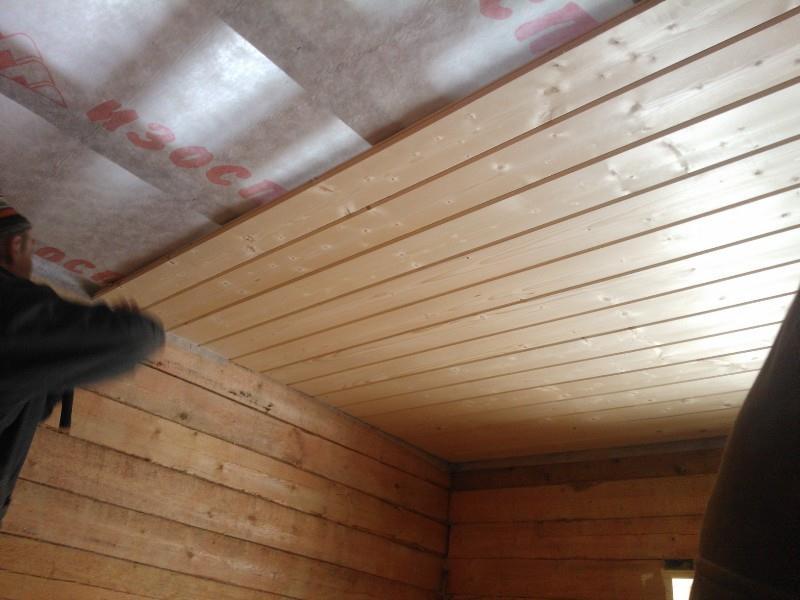 Потолок из имитации бруса своими руками 77