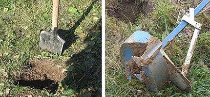 Можно копать лопатой, а можно сделать углубления с помощью ямобура