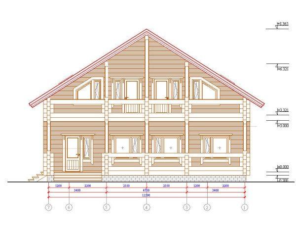 На чертеже демонстрируется фасадная часть дома.