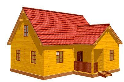 На фото – 3D модель типового дома из бруса