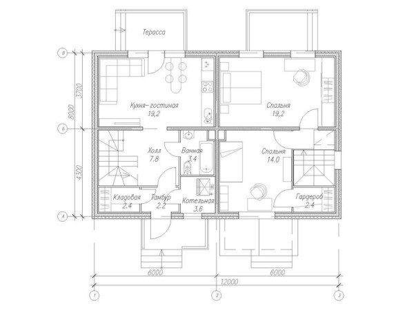 На фото – план дома на две семьи.