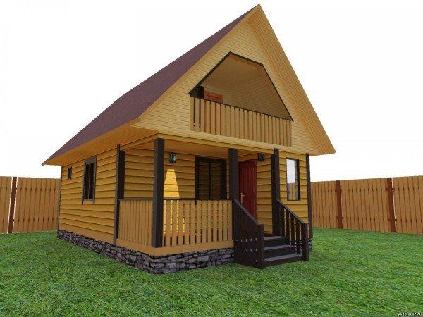 На фото баня с двухскатной крышей.