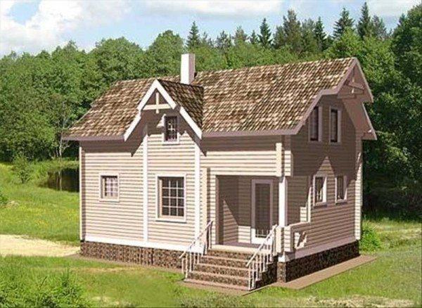 На фото брусчатый дом, размерами 6×8, имеющий мансарду.