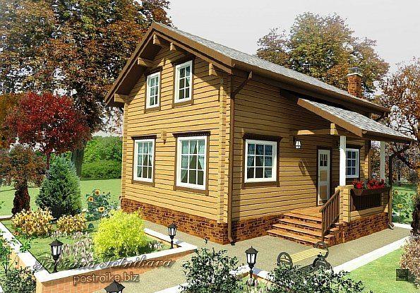 На фото компьютерная визуализация брусчатого дома
