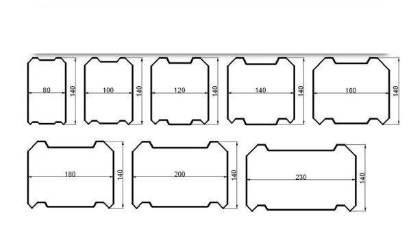 На рисунке приведены варианты сечения для профилированного и клееного бруса