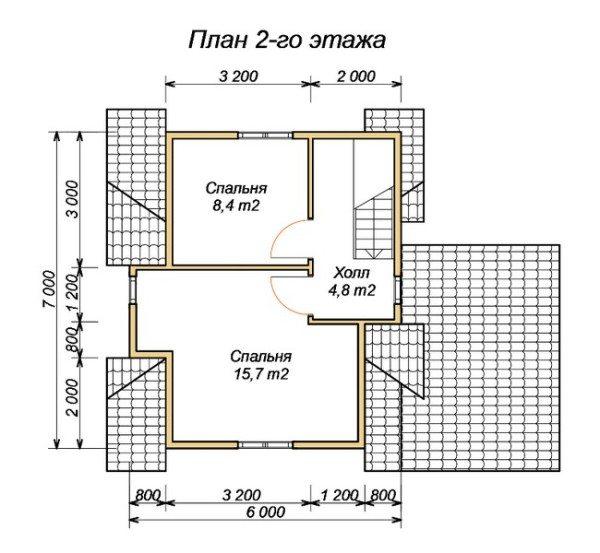 На втором этаже размещаем 2 спальни