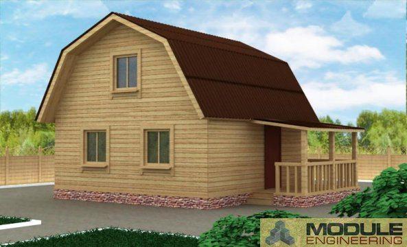 Наглядное изображение дома из бруса с параметрами 8 на 8