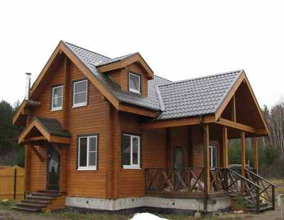 Небольшой дом из бруса с мансардой