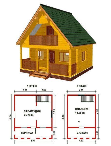 Небольшой, но просторный двухэтажный дом.