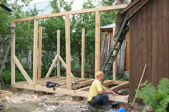 Деревянная пристройка к деревянному дому своими руками