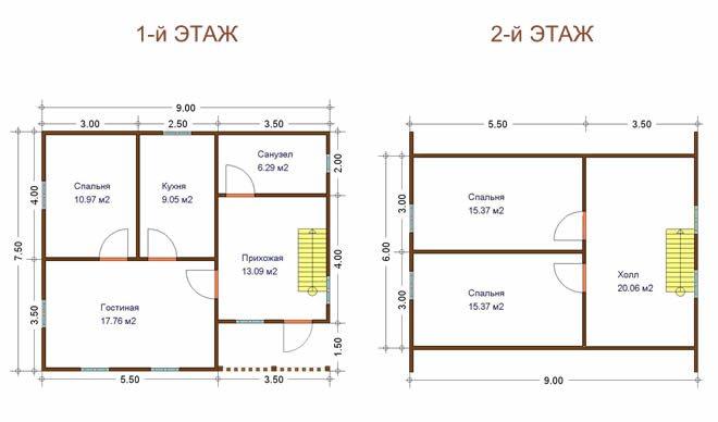 План схема домов из бруса
