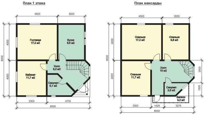План дома с мансардой 8х8 дает
