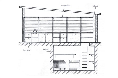 План гаража с подвалом