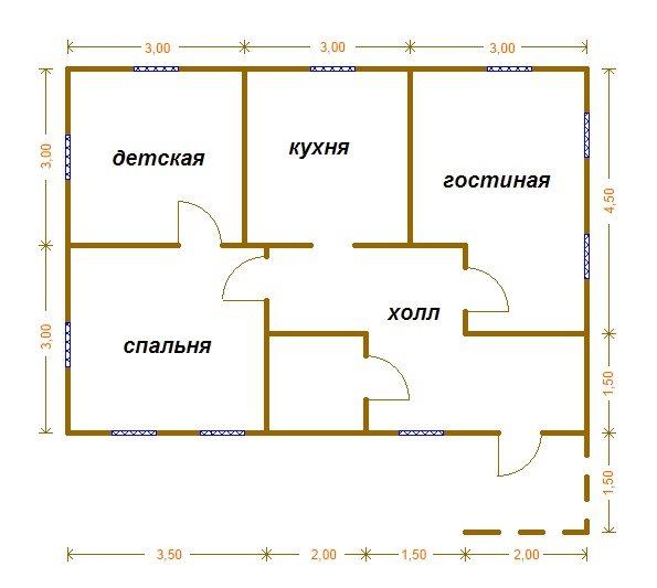 одноэтажного дома 6х9 м.