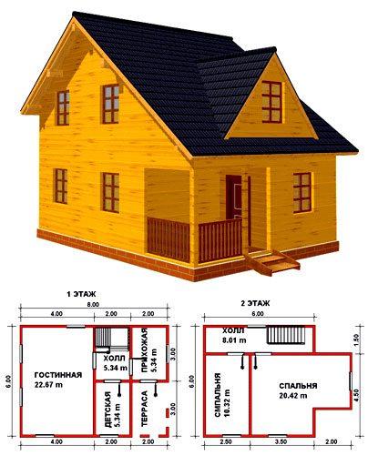 План жилого строения из бруса