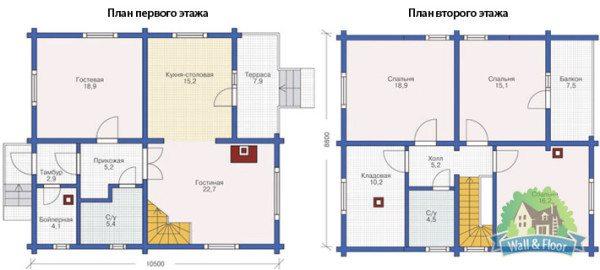 Подробный план дома 9х10