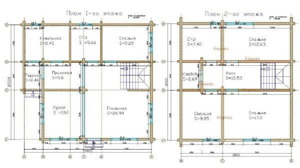 Поэтажные планы дома из профилированного бруса