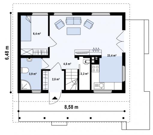 Поэтажный план деревянного дома.