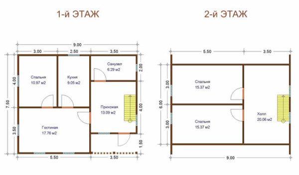 Представлен план первого и второго этажа брусового дома.