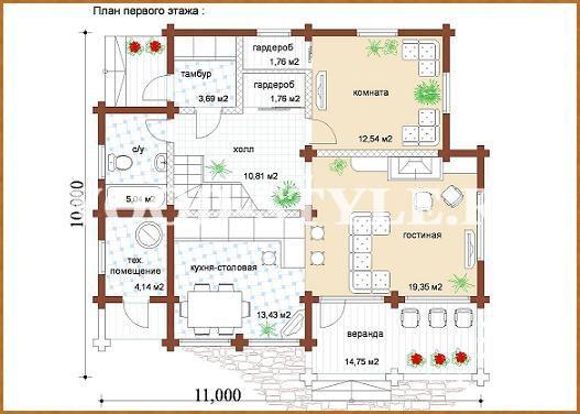 Пример проекта дома шале