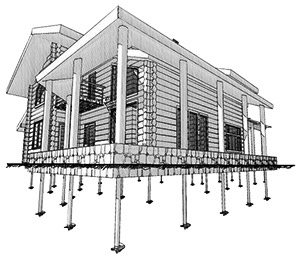 Принцип изготовления домов размещенных на свайном фундаменте