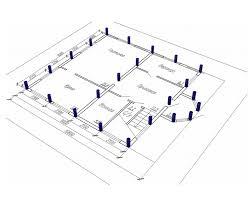 Принцип изготовления фундамента с детальным указанием размещения свай под домом