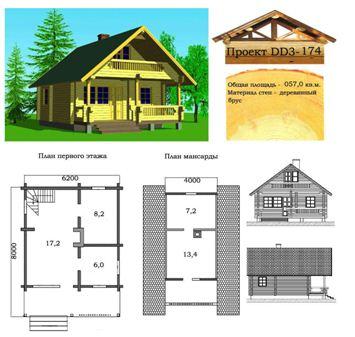 Проект деревянного брусового дома основывается на грамотно составленном чертеже.