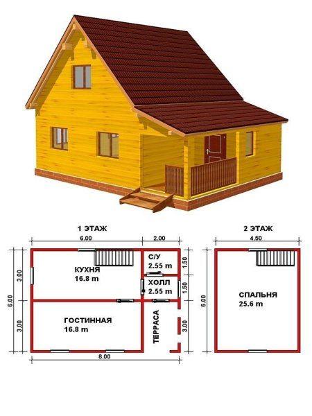 Проект деревянного дома 6*8 с мансардой