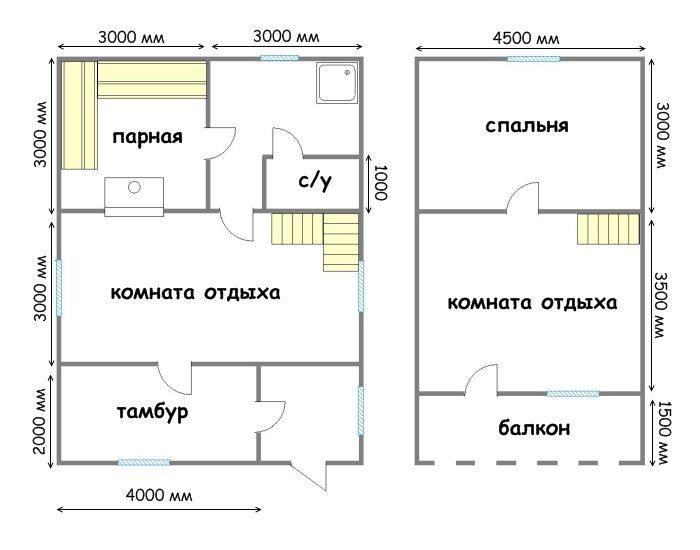 Проект дома 6х9 из бруса с