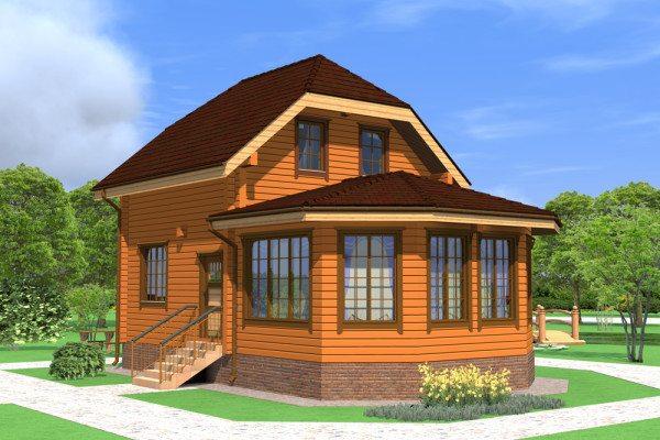 Проект дома с пристроенной остекленной верандой