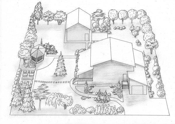 Проект изображения дома с участком