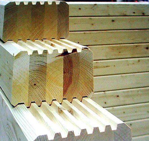 Профиль клееного бруса с другими пазами для создания замков
