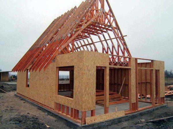 Процесс возведения каркасно-щитового дома.