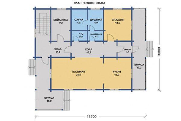 Сауна, совмещенная кухня с большой гостиной запланированы на 1 этаже.