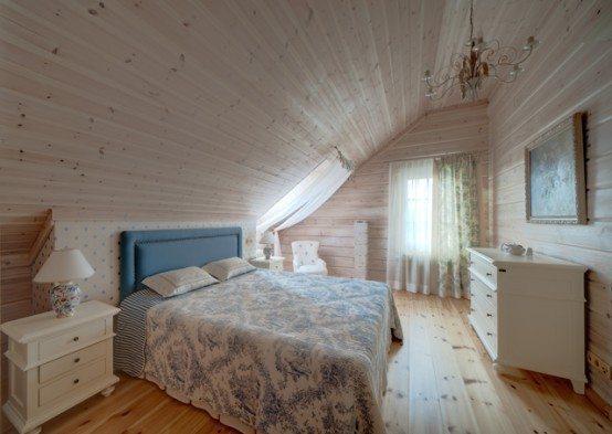 Спальня, где выполнена имитация бруса в интерьере дома