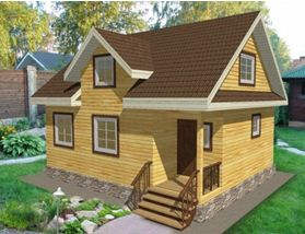 Трехмерный проект дома из бруса 7*7 с мансардой