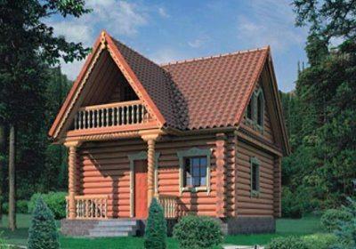 Трехмерный проект дома-бани 6*8
