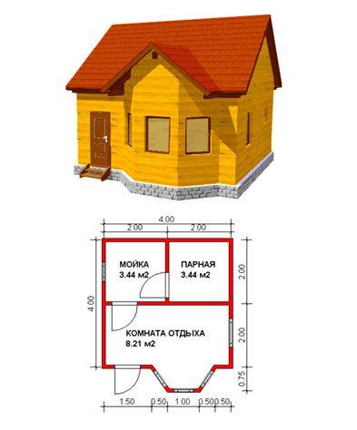 Вариант готового плана размещения комнат в бане с графическим изображением будущей конструкции