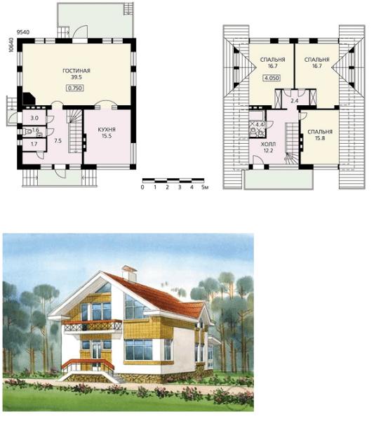 Вариант проекта дома с графическим изображением внешнего вида и планом размещения комнат