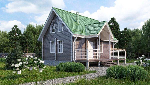 Вид дачного дома с мансардой