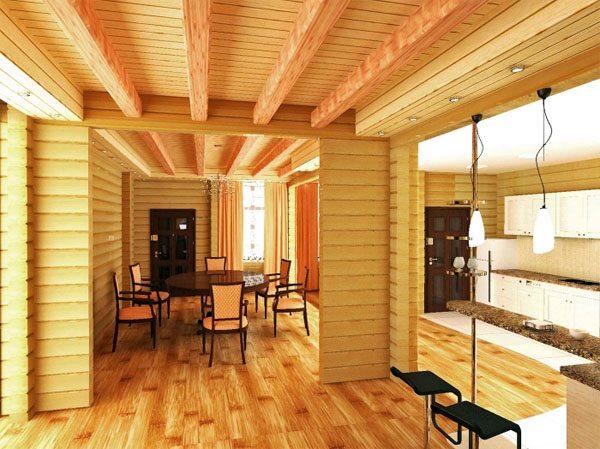 Внешний вид интерьера дома созданного из бруса