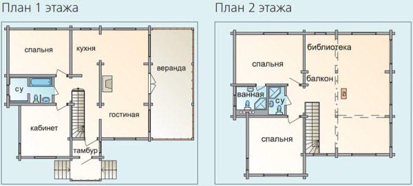Часть проекта, показывающая размещение комнат на двух этажах