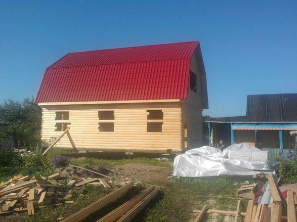 Дачный дом из сухого бруса на завершающем этапе строительства